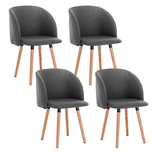 WOLTU 4 x Esszimmerstühle 4er Set Esszimmerstuhl Küchenstuhl Polsterstuhl Design Stuhl mit Armlehne, Gestell aus Massivholz, BH120-4