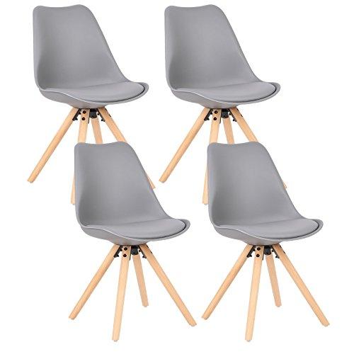 WOLTU® 4 x Esszimmerstühle 4er Set Esszimmerstuhl mit Sitzfläche aus Kunstleder Design Stuhl Küchenstuhl Holz, Grau BH52gr-4