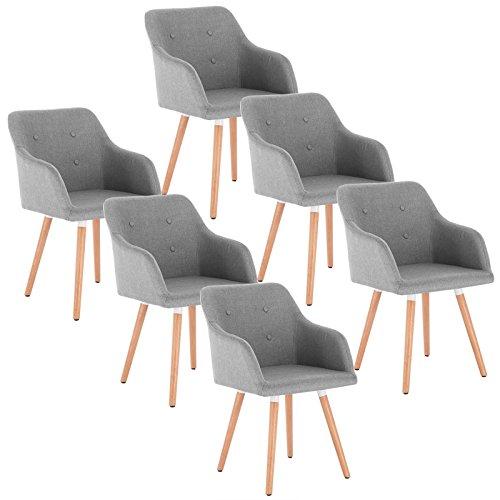 WOLTU 6 x Esszimmerstühle 6er Set Esszimmerstuhl Küchenstuhl Polsterstuhl Design Stuhl mit Armlehne, mit Sitzfläche aus Leinen, Gestell aus Massivholz, Hellgrau BH88hgr-6