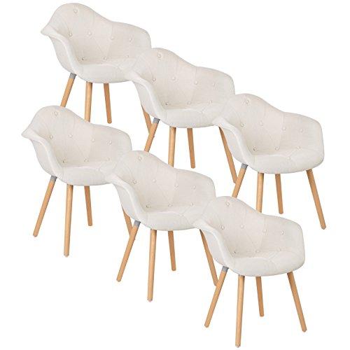 WOLTU® #784 6 x Esszimmerstühle 6er Set Esszimmerstuhl mit Lehne Design Stuhl Küchenstuhl Leinen Holz