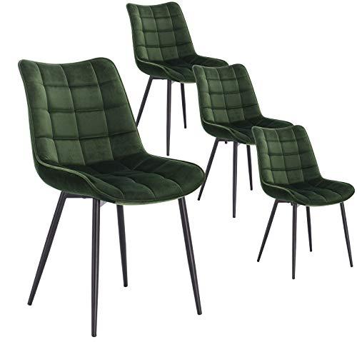 WOLTU 4 x Esszimmerstühle 4er Set Esszimmerstuhl Küchenstuhl Polsterstuhl Design Stuhl mit Rückenlehne, mit Sitzfläche aus Samt, Gestell aus Metall, Dunkelgrün, BH142dgn-4