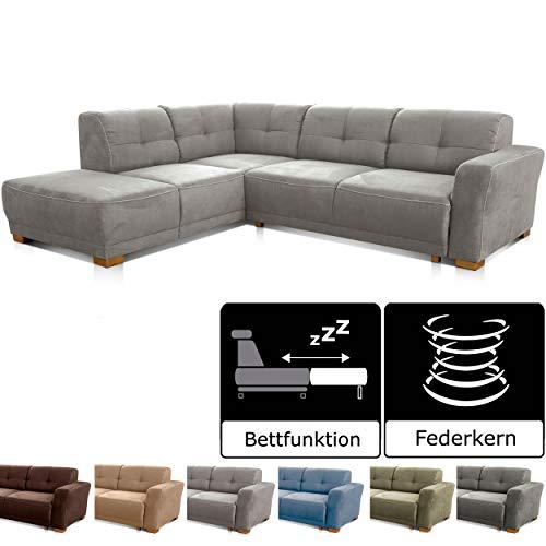 """Cavadore Ecksofa """"Modeo"""" / Sofa-Ecke mit Federkern und modernen Kontrastnähten / Hochwertiger Mikrofaser-Bezug in Wildlederoptik / Holzfüße / Maße: 261x77x214 cm (BxHxT)"""
