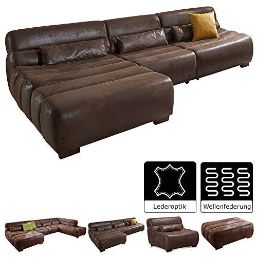 Cavadore Polsterecke Scoutano in Antiklederoptik mit Longchair links / Sofa L-Form mit XXL Longchair im Industrial Design