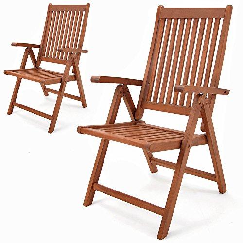 Deuba Set Gartenstuhl Vanamo | Eukalyptus Holz klappbar | Klappstuhl Hochlehner Klappstühle Klappsessel Gartenmöbel