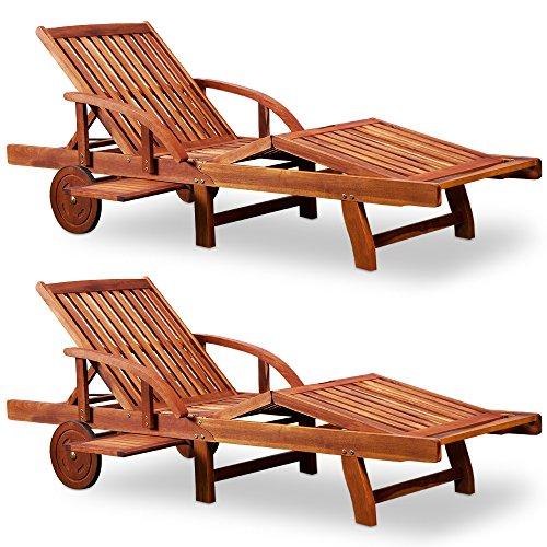 Deuba Sonnenliege Tami Sun | 2er Set Akazien Holz verstellbar Tisch klappbar Gartenliege Holzliege Garten Liege