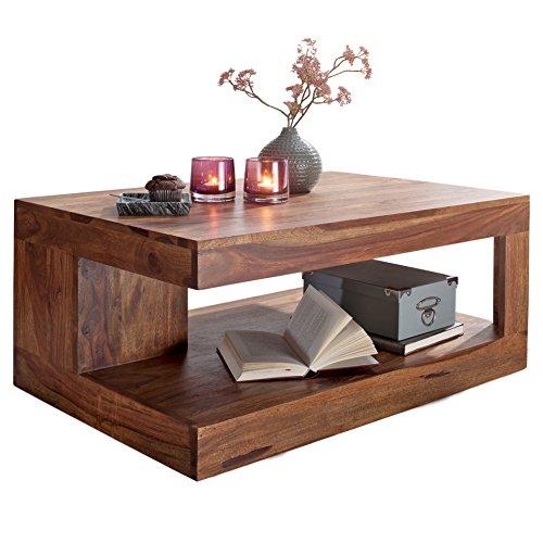 FineBuy Couchtisch Massiv-Holz 90 cm breit Wohnzimmer-Tisch Design dunkel-braun Landhaus-Stil Beistelltisch Natur-Produkt Wohnzimmermöbel Unikat modern Massivholzmöbel Echtholz rechteckig