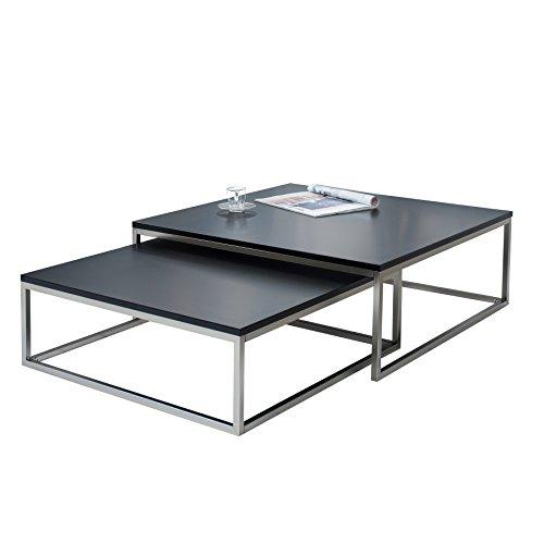 Invicta Interior Design Couchtisch 2er Set Elements matt schwarz Stahl gebürstet Satztische Wohnzimmertisch Tischset