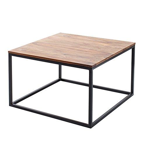 Riess Ambiente Design Couchtisch Elements 70cm Sheesham Massivholz Eisen schwarz Sofatisch Holztisch Tisch