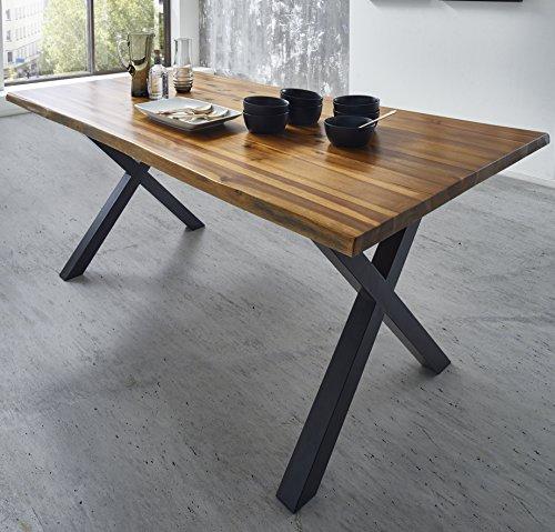 SAM Esszimmertisch Phoenix, Akazienholz, nussbaumfarben, X-Beine aus Metall, echter Baumkantentisch, Unikat