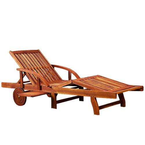 Sonnenliege Tami Sun | Akazien Holz verstellbar ausziehbarer Tisch klappbar | Gartenliege Holzliege Liege Liegestuhl