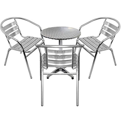 Wohaga 4er Set Gartenmöbel Gartengarnitur Aluminium Bistrogarnitur Bistrotisch Stehtisch Ø60cm Tischplatte Schleifoptik + 3X stapelbare Bistrostühle - Silber