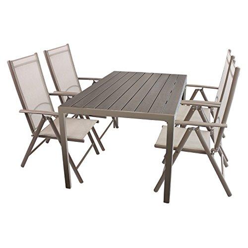 Wohaga Gartenmöbel Set Gartentisch, Aluminiumrahmen Champagnerfarben, Polywoodtischplatte, 150x90cm + 4X Hochlehner, Aluminiumgestell, Textilenbespannung, Rückenlehne 7fach verstellbar, Champagner
