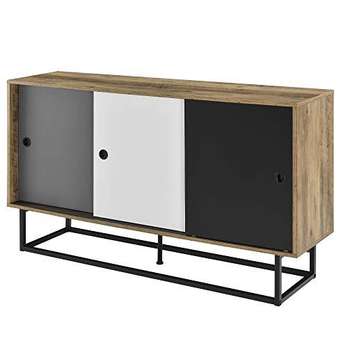 [en.casa] Sideboard mit 3 Schiebetüren Konsolentisch Kommode Wandschrank Wohnzimmerschrank 140x35x80cm
