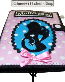 Mutterpasshülle II Mutter mit Locken und Kind rosa-blau