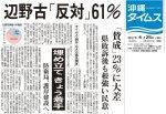 【沖縄県民世論調査】翁長雄志知事「支持する」58%「支持しない」22%、安倍内閣「支持する」31%「支持しない」48%