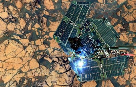 el rover Opportunity se toma una Selfie en Erebus, el 9 de octubre de 2006.
