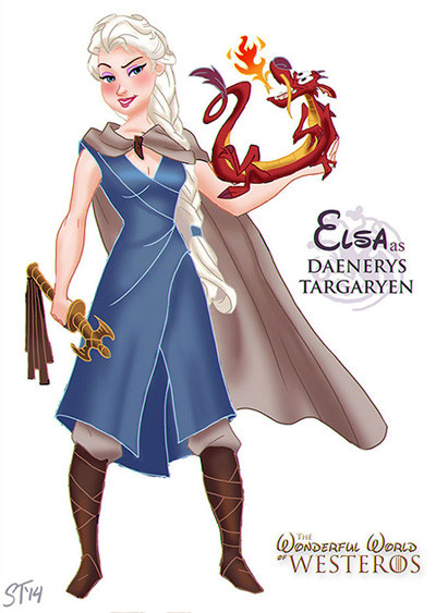 elsa-frozen-disney-daenerys-targaryen-game-of-thrones