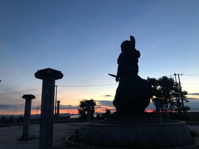 北海道岩内町にあるモニュメント(記念碑)アテナ像