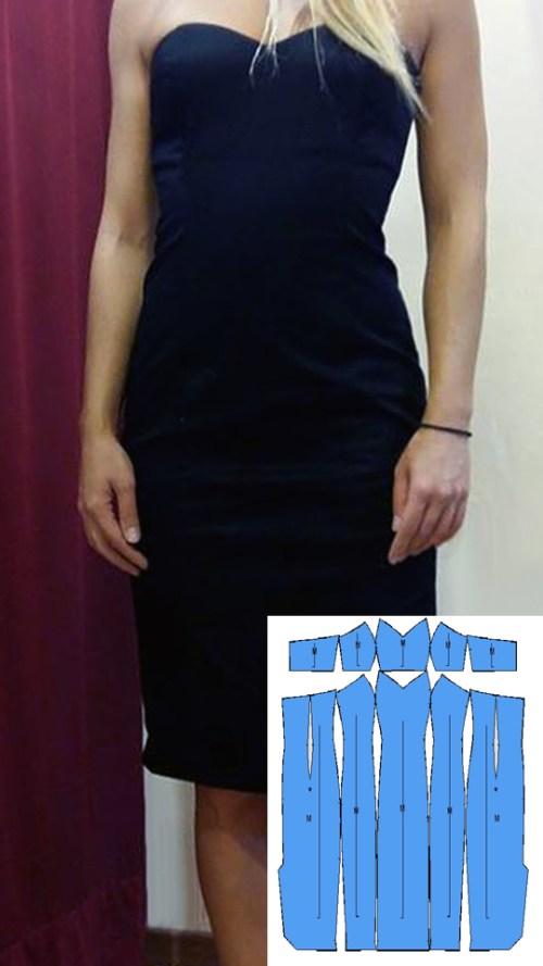 Πατρόν στράπλες φόρεμα Μ