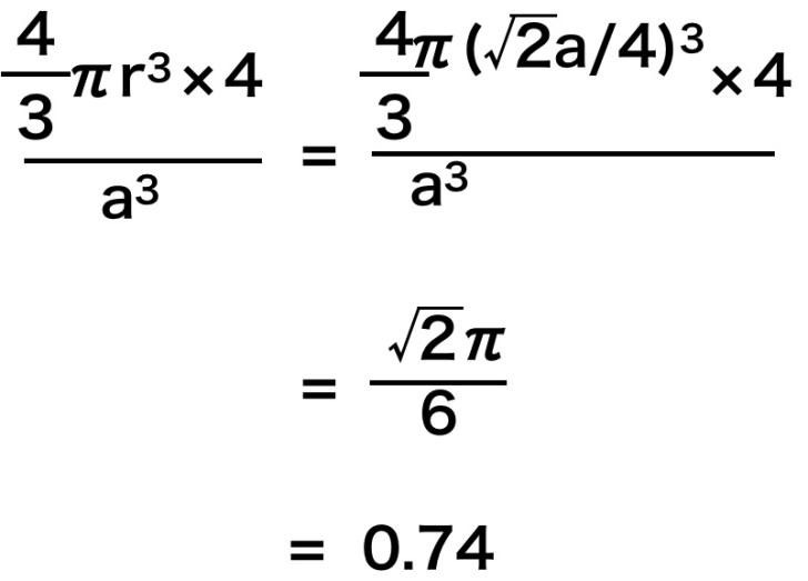 面心立方格子の重点率