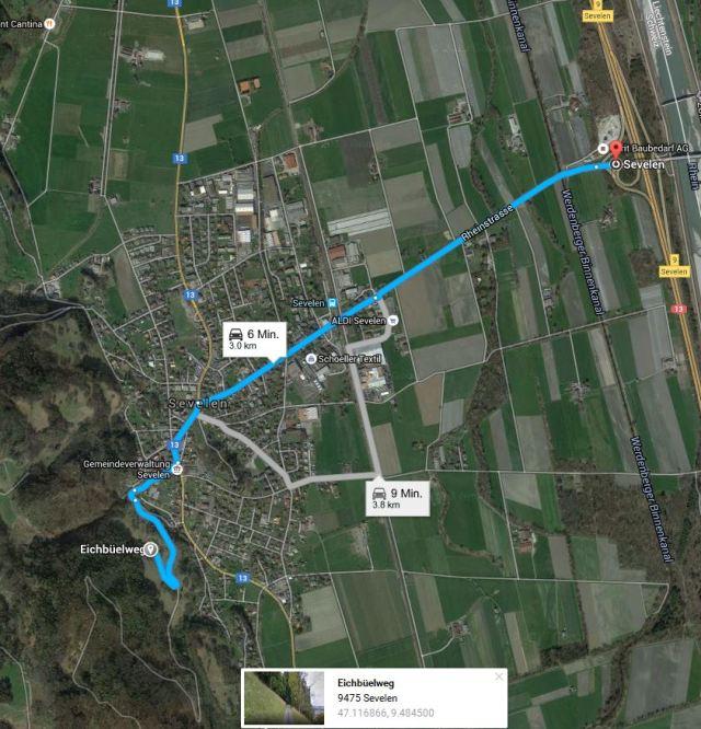 Wegbeschreibung Vereinslokal Sevelen Eichbüelweg