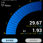 docomoLTE回線のスピード測定結果。テザリング&Xi携帯端末単体のスピードテスト