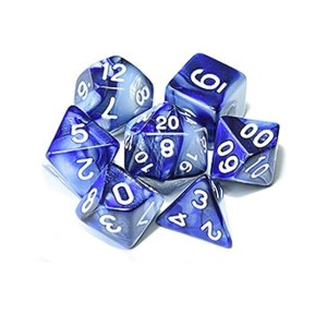 Blue White Polyhedral Marble Dice Set