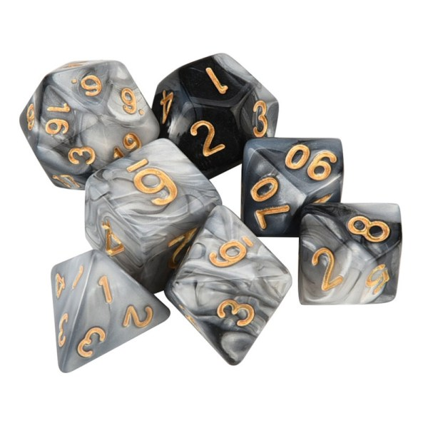 White and Black Polyhedral Dice Set