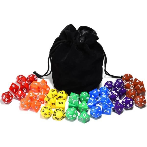 RPG Plain 7 x Dice Bundle + Bag Holding