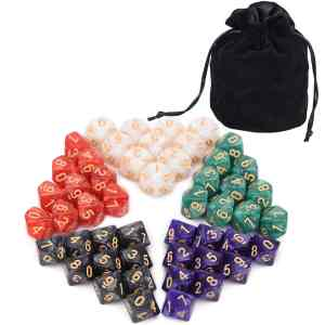 D10 Dice Pearl 50 X Dice + Bag Holding