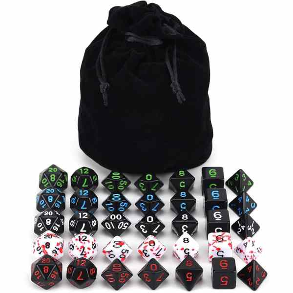 RPG Dice Set - Carnage + Bag