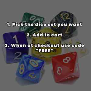 1 x Free Dice Set (USE DISCOUNT CODE: FREE at checkout)