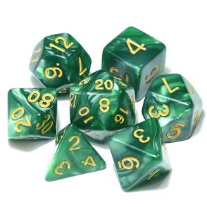 DnD Dice Green /w Gold