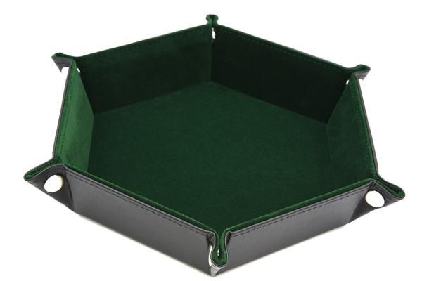 Dice Tray - Folding Hex Tray w/ Green Velvet