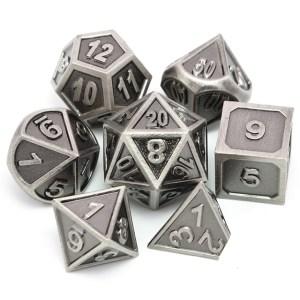 Metal Dice Set - Medieval Silver