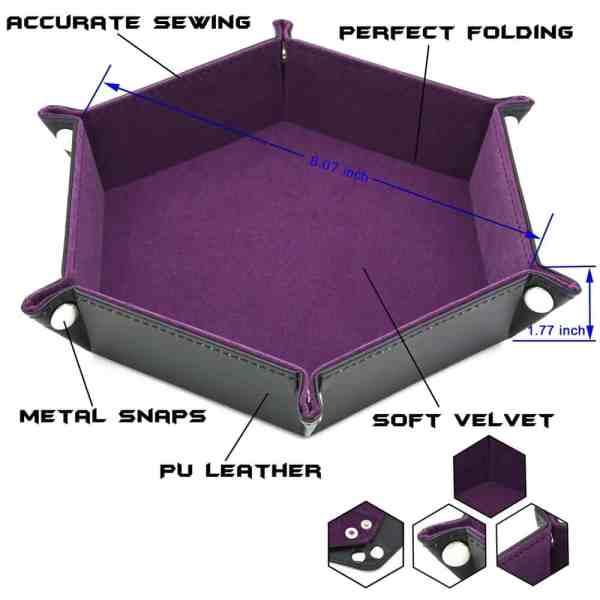 Dice Tray - Folding Hex Tray w/ Pink Velvet