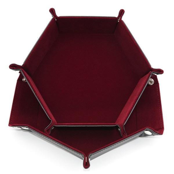 Dice Tray - Folding Hex Tray w/ Red Velvet