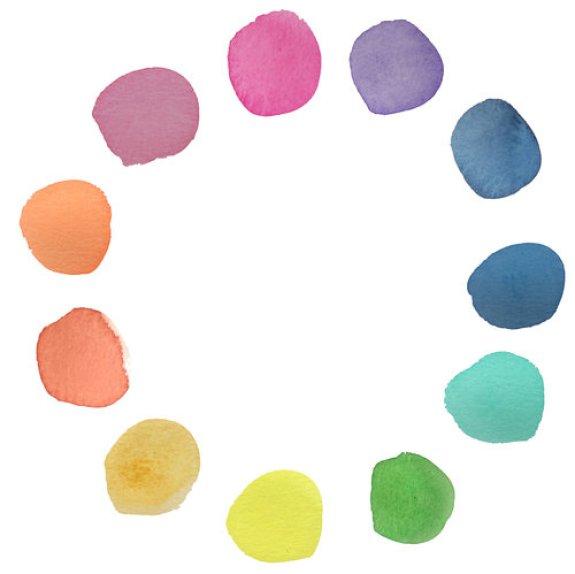 des points colorés en cercle à l'aquarelle
