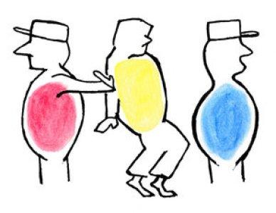 rouge jaune bleu bonhommes aux casquettes