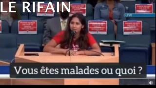 Une femme avec des couilles de bison dénonce le plan de l'état profond