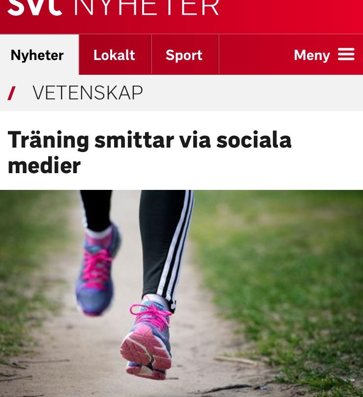 sociala medier inlägg smittar träninging