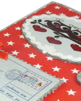 U-Heft Hülle 2 Eulen auf dem Ast in Rot mit Sterne