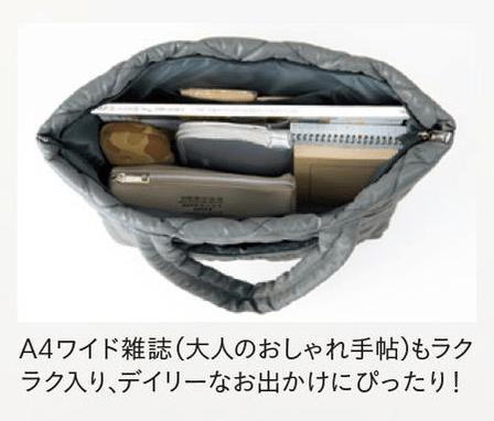 大人のおしゃれ手帖 2017年12月号付録:zucca軽量&ジップ付き ふわふわキルティングトート。