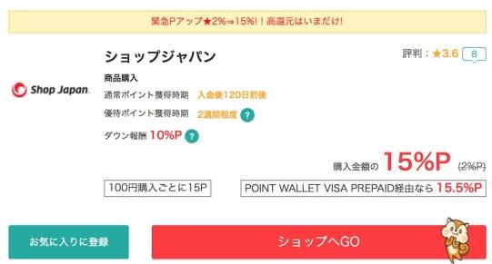 ショップジャパンはdカード特約店で2倍