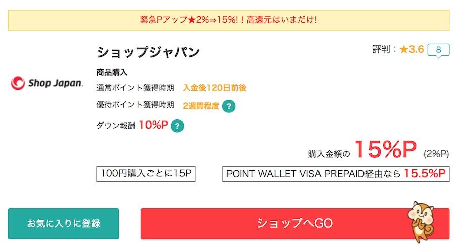 ポイントサイトモッピー経由のショップジャパン還元率15%
