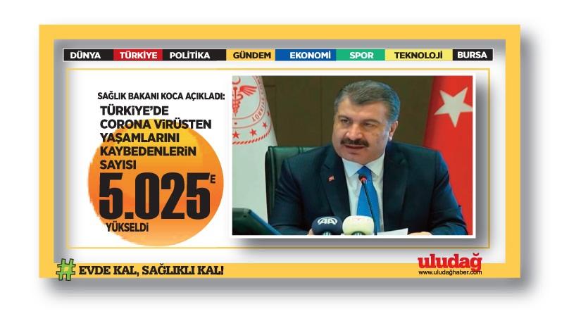 Türkiye'de koronavirüsten can kaybı 5 bin 25 oldu …