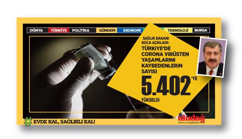 Türkiye'de koronavirüsten ölenlerin sayısı 5 bin 402 oldu