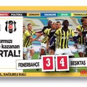 Fenerbahçe – Beşiktaş maç sonucu: 3-4