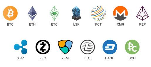 扱っている仮想通貨の種類