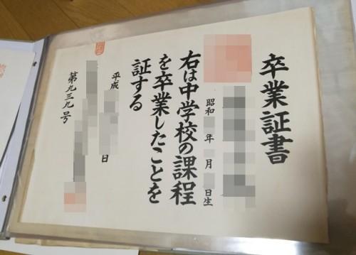 中学校の卒業証書